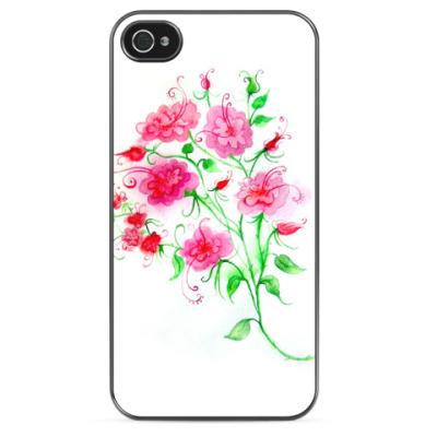 Чехол для iPhone Цветы, акварель