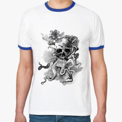 Футболка Ringer-T Череп-кальмар