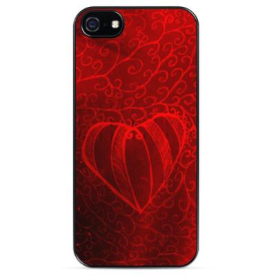 Чехол для iPhone Алое сердце