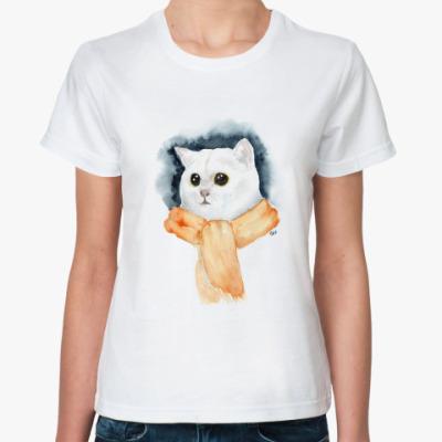 Классическая футболка Кот в шарфе