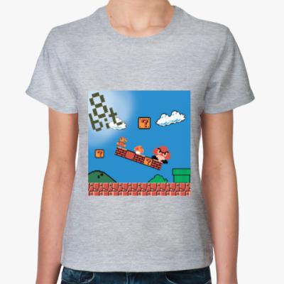 Женская футболка mario 8 bit