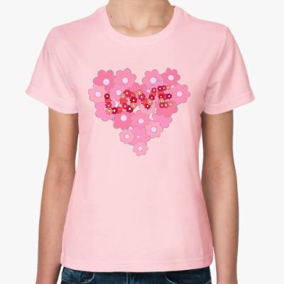 Женская футболка Цветочное сердце