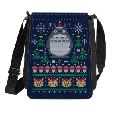 Сумка-планшет Новогодний Тоторо и кот Totoro