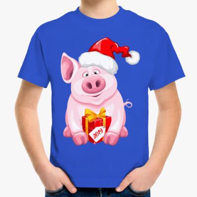 Детская футболка Новогодняя Свинка 2019