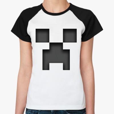 Женская футболка реглан Minecraft Creeper