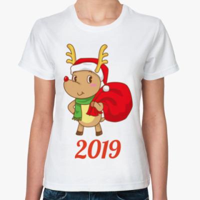 Классическая футболка Олененок Санты 2019