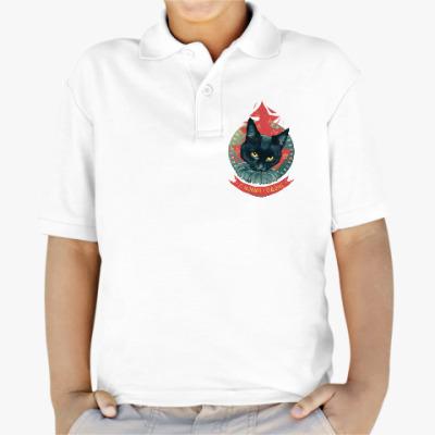 Детская рубашка поло Новогодний черный кот