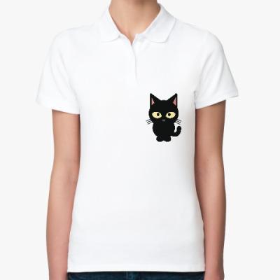 Женская рубашка поло Черный Котик