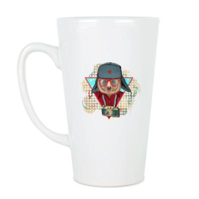 Чашка Латте Медведь битник СССР