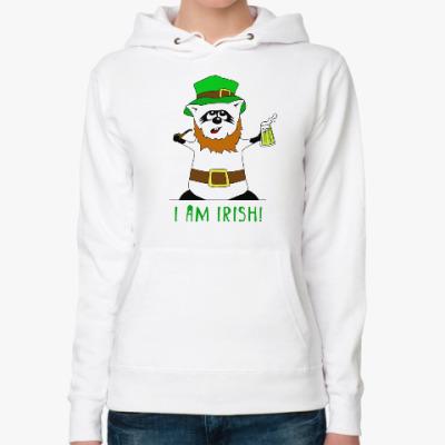 Женская толстовка худи Енот 'I am Irish!'