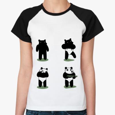 Женская футболка реглан Ограбление по-пандовски