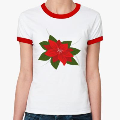 Женская футболка Ringer-T Пуансетия