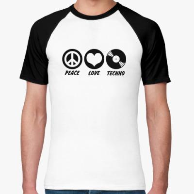 Футболка реглан  Peace Love Techno