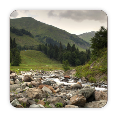 Костер (подставка под кружку) Горная речка, горы, Абхазия