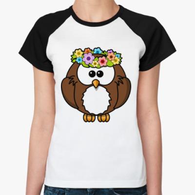 Женская футболка реглан Сова с цветами