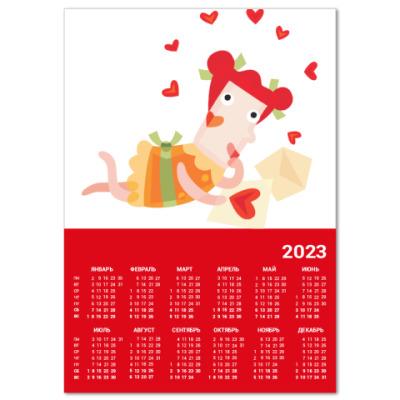 Календарь  A4 Девушка №23*11