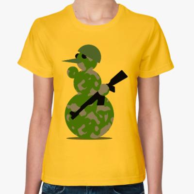 Женская футболка Военный снеговик
