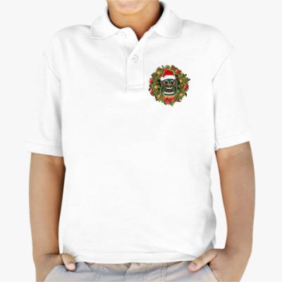 Детская рубашка поло Новогодняя сова в шапке
