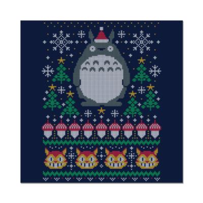 Наклейка (стикер) Новогодний Тоторо и кот Totoro