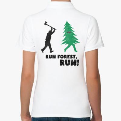 Женская рубашка поло Run forest run! New Year