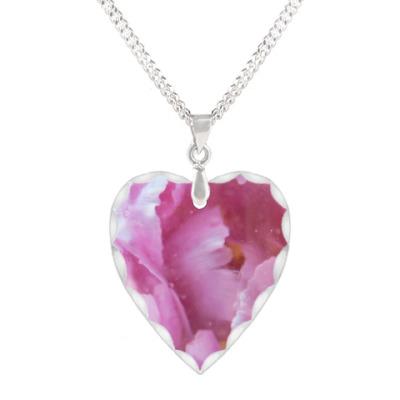 Кулон 'сердце' Акварельный цветок
