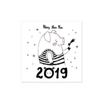 Виниловые наклейки Год свиньи 2019