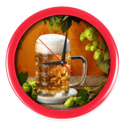 Настенные часы Бокал пива и ячмень
