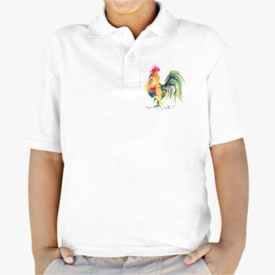 Детская рубашка поло Петух символ 2017 акварельный