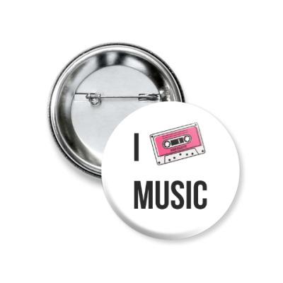 Значок 37мм I Love Music