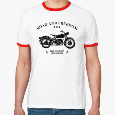 Футболка Ringer-T Король дорог (мотоцикл)