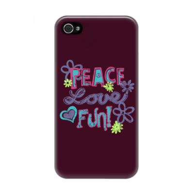 Чехол для iPhone 4/4s Мир, Любовь, Веселье!