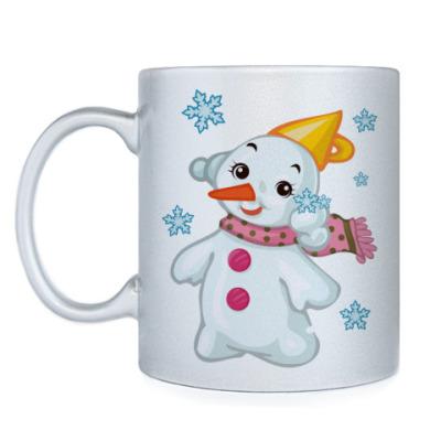 Кружка Снеговик и снежинки
