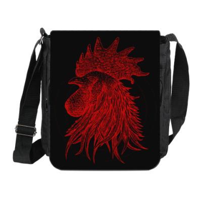 Сумка на плечо (мини-планшет) Красный петух символ Года
