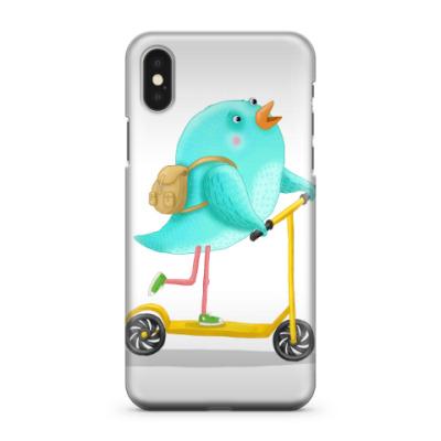 Чехол для iPhone X Птица на самокате