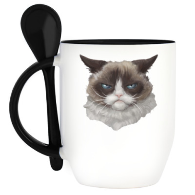 Кружка с ложкой Grumpy Cat / Сердитый Кот