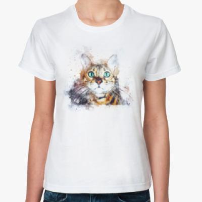 Классическая футболка Кот с зелёными глазами
