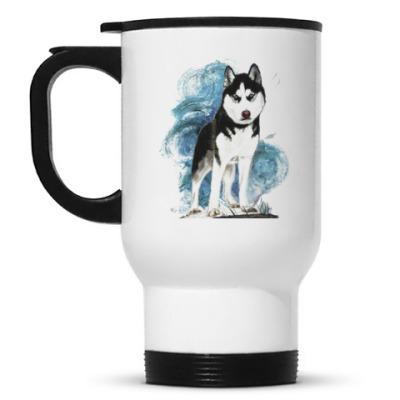 Кружка-термос Собака хаски. Siberian husky
