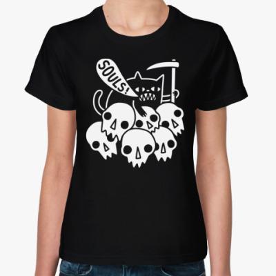 Женская футболка Дьявольский котик