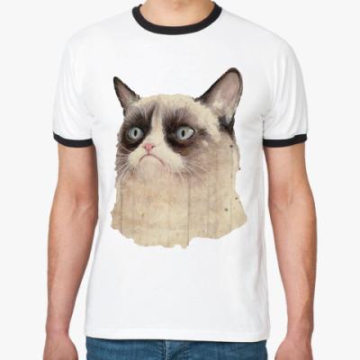 Футболка Ringer-T Grumpy Cat / Сердитый Кот