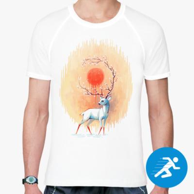 Спортивная футболка Дух весны белый олень