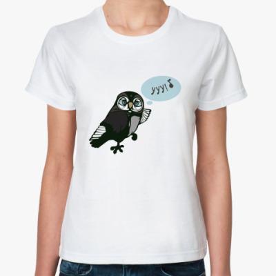 Классическая футболка  с сычом