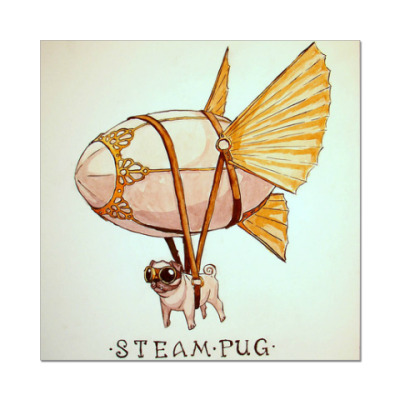 Наклейка (стикер) Steam Pug