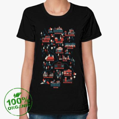 Женская футболка из органик-хлопка Карта сериала Ходячие мертвецы