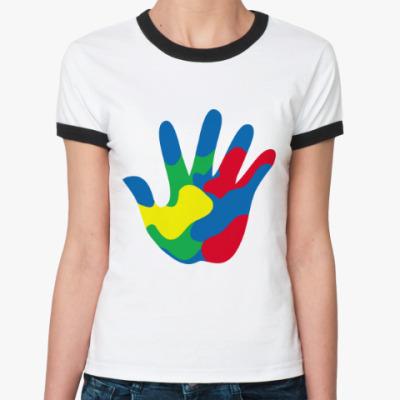 Женская футболка Ringer-T Отпечаток Руки