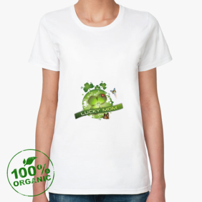 Женская футболка из органик-хлопка Lucky mom