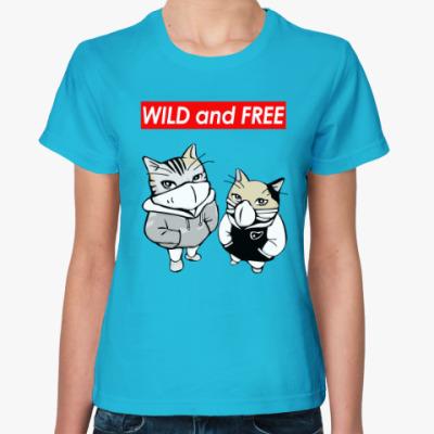Женская футболка WILD and FREE ~ CAT КОТ