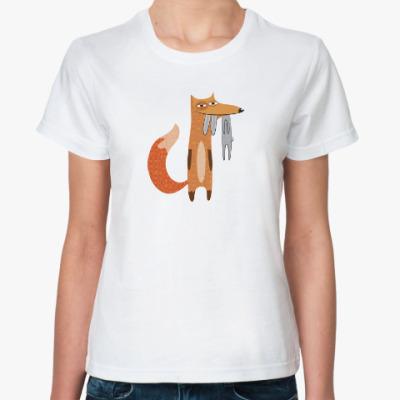 Классическая футболка Смешной рисунок довольной лисы, поймавшей зайца