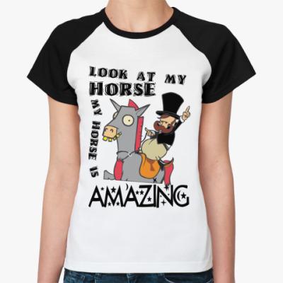 Женская футболка реглан Amazing Horse