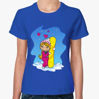 Женская футболка Парные Love is. Он и она.