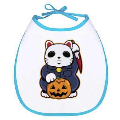 Слюнявчик Halloween Maneki Neko и тыква